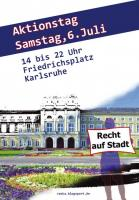 Flugblatt (Front) für den Aktiontag am 6.7. von 14 bis 22 Uhr auf dem Friedrichsplatz